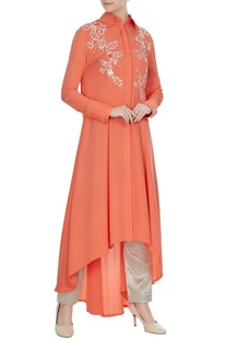 Coral double georgette sequin embroidered tunic