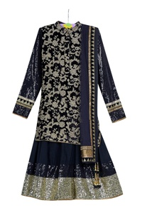 Black pre-embroidered kurta with black voile skirt & net dupatta