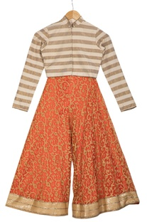 Beige stripe chanderi choli blouse with pre-embroidered orange flared pants