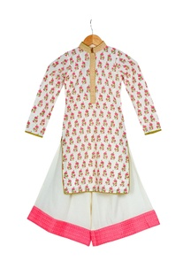Cream & pink cotton block printed kurta with box pleated pants
