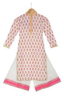 Pink cotton block printed kurta with box pleated pants