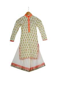 Cream & orange cotton block printed kurta with box pleated pants