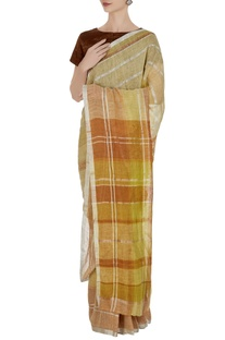 Corn yellow linen hand woven plaid pattern saree with unstitched blouse