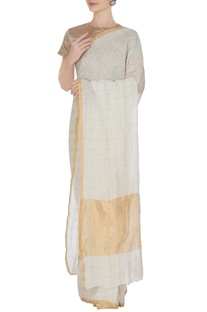 Ivory hand woven linen saree with gold check pattern with unstitched blouse