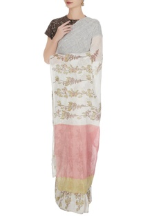 White linen mayflower block printed handloom saree with unstitched blouse