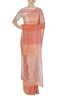 Salmon pink & peach gingham hand woven linen check saree with unstitched blouse