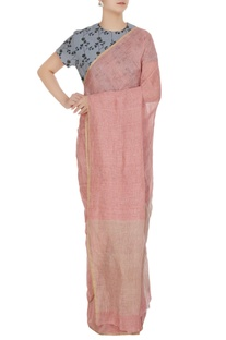 Pink linen hand woven linen saree with unstitched blouse