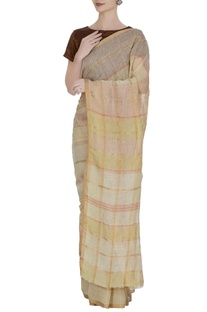 Vanilla linen hand woven grid pattern saree with unstitched blouse