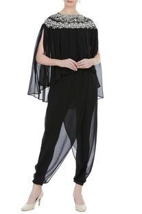 Black georgette pearl embroidered & pleated blouse with black satin lyra dhoti pants