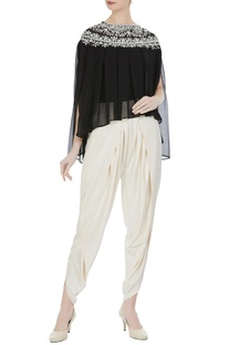 Black georgette pearl embroidered pleated blouse with cream crepe dhoti pants