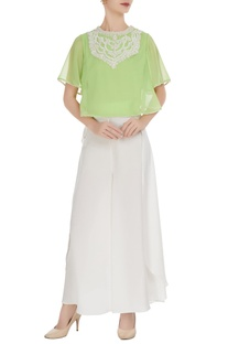 Green georgette pearl embroidered blouse with crepe pants