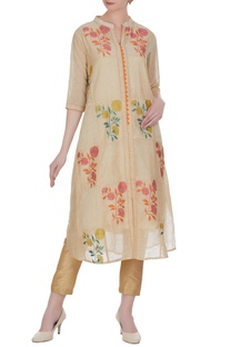 Jute chanderi banarasi thread embroidered floral kurta