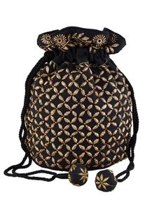 Black silk mukaish hand embroidered potli