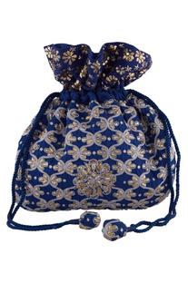 Blue silk mukaish & thread hand embroidered potli