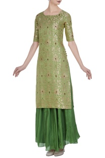 Brocade silk floral kurta with flared skirt