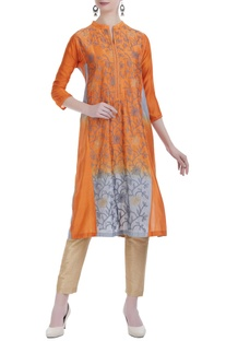 Kantha embroidered silk kurta.