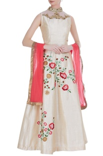Embroidered blouse with floral print lehenga and dupatta.