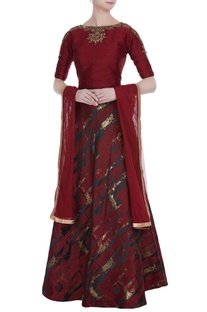 Embroidered cold shoulder blouse with lehenga & dupatta.
