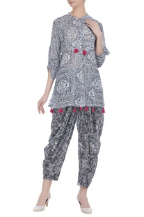 Multiprinted short tassel kurta with dhoti pants