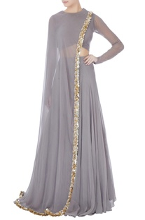 Grey embellished lehenga with blouse & attached dupatta