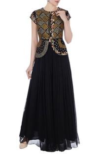 Black raw silk persian dori embroidered jacket with chiffon pleated palazzo pants
