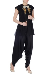 Black raw silk solid blouse with dhoti pants & embroidered jacket