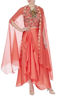 Light brick raw silk persian dori & embroidered blouse with skirt and bel embroidered cape