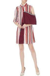 Maroon polyester striped drop shoulder shirt dress