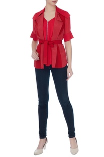 Red collar shirt with zipper detail