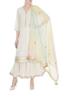 Ivory & white cotton mullmull gotta patti kurta with sharara & dupatta