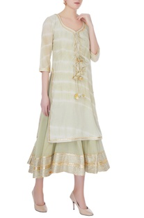 Dull green cotton gotta patti anarkali