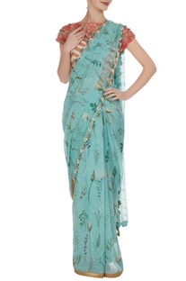3D floral sequin embroidered sari with blouse