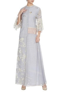 Cashmere blue floral embroidered chanderi shirt dress