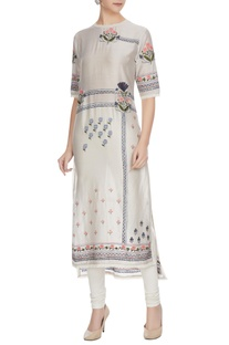 Glacier grey floral embroidered chanderi kurta