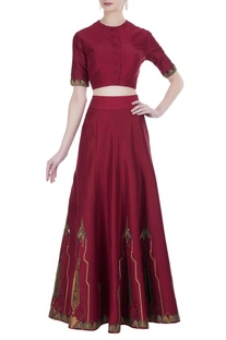Embroidered blouse and panelled lehenga