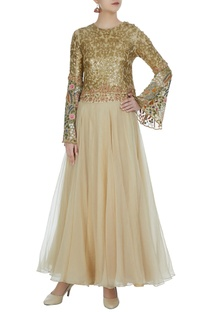 Sequin embroidered floral crop top with flared lehenga
