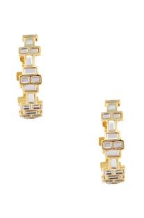 Gold mirror & gold plated brass dangler earrings