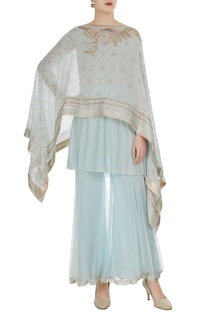 Asymmetric embellished cape and inner