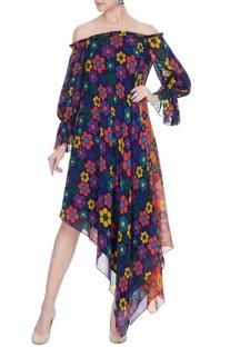 Multicolored georgette floral printed off-shoulder dress