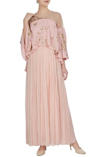 Net panel sequin embroidered cape layer gown