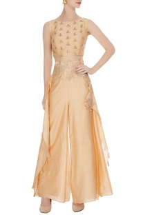 Peach crop top with embroidered palazzos