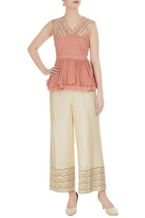 Pink overlap top with ivory chevron palazzo pants