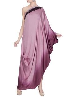 Lilac & purple satin one shoulder tassel draped gown