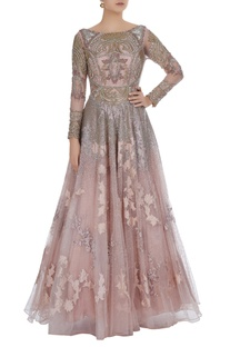 Antique gold embroidered flared gown
