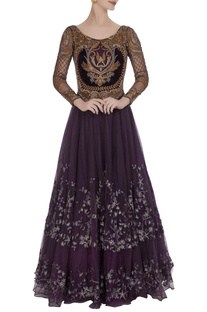 Embroidered floor length gown