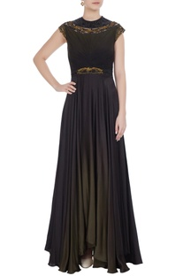 Metal coil embroidered gown with asymmetric hemline