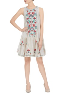 3D floral embroidered mini dress