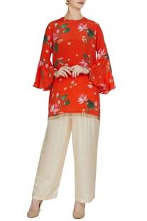 Red floral printed ruffle sleeve kurta