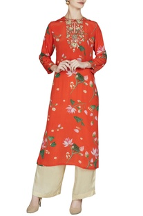 Red floral printed keyhole neckline kurta with pants