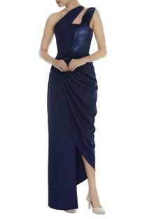 Draped asymmetric gown